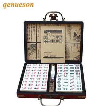 Chinese Tradition Mahjong Games Sets Portable Vintage Mahjong Box High Quality Mahjong Table Game Best Gift Board Games qenueson