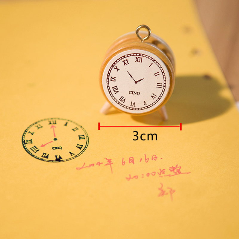 1PCS Creative Clock Shaped Time Planner Wooden Rubber Stamp Set DIY Scrapbooking Cards Decoration Embossing YZ16