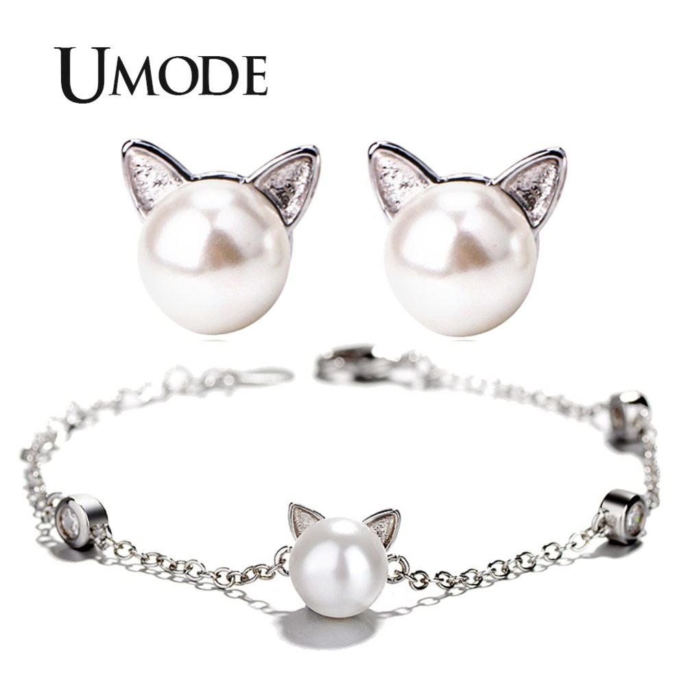 d03b54ccb Details about UMODE Korean Cute Cat Ear Pearl Studs Earrings Bracelets  Jewelry Sets for Kids
