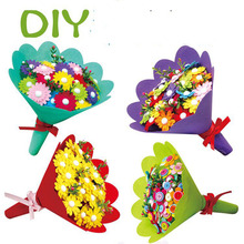 Holding Flowers Gift Kindergarten Diy Button Bouquet Mterial Package Children's Educational Creative Toys