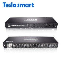 Tesla smart KVM переключатель USB HDMI 16 портов KVM HDMI коммутатор KVM переключатель HDMI Поддержка 3840*2160/4 K 2 шт стойки уши стандарт 1U