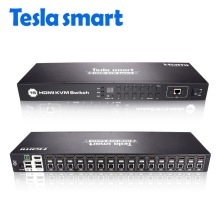 Tesla smart KVM USB HDMI Switch 16 Port KVM HDMI Switcher KVM Switch HDMI Support 3840*2160/4K 2 Pcs Rack Ears Standard 1U