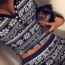 2Pcs Set Lady Women Christmas Pajamas Sleepwear Nightwear Pyjamas Women Cotton Clothes Set