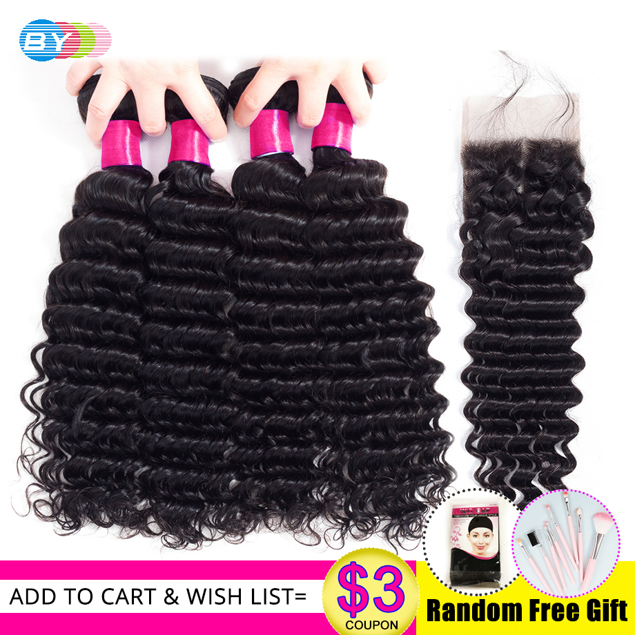 BY Remy Human Hair Weave 4 Bundles With Closure Natural Black 5 Pieces Brazilian Deep Wave