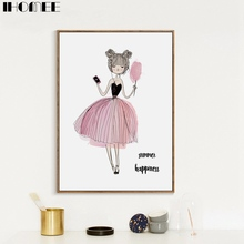 IHOMEE Nordic Unframed Little Girl Canva Painting Art Print Poster Abstract Wall Pictures for Kids Room Decor Drop Shipping