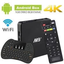 Android ТВ Box Amlogic S905X Cortex A53 64Bit Wi-Fi 4 К UHD H.265 Smart ТВ коробка 4 Ядра 8 ГБ 1 ГБ, с мини Беспроводной клавиатура, Pla