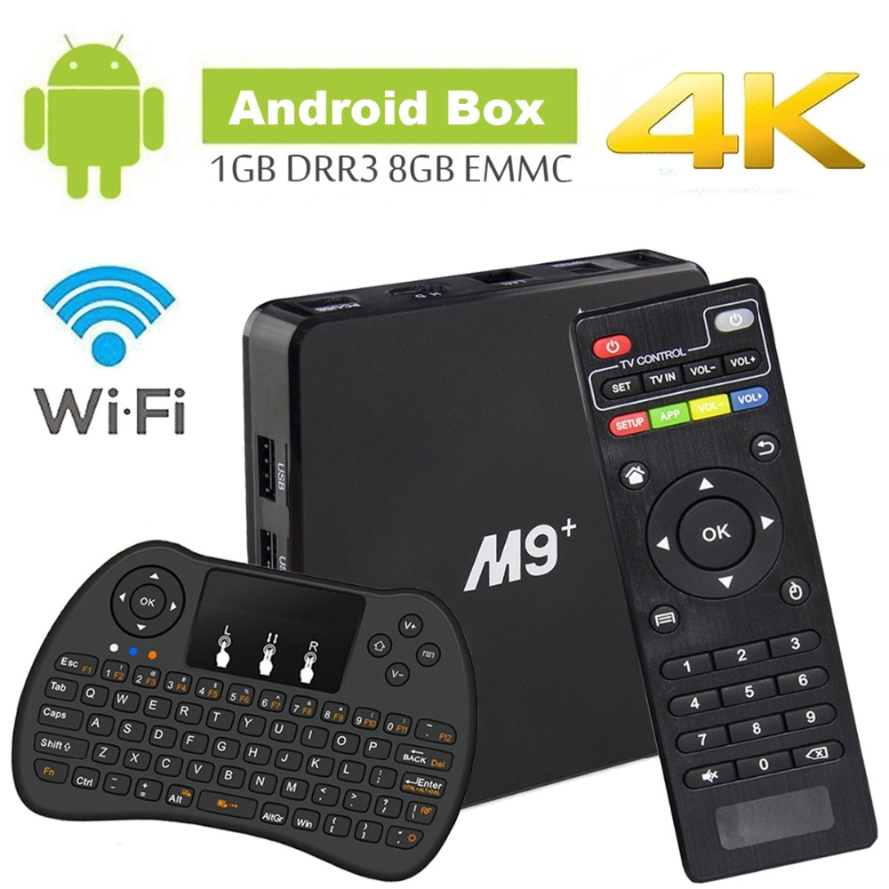 Android TV Box Amlogic S905X Cortex A53 64Bit Wifi 4 k UHD H.265 Smart TV Box Quad Core 8 gb 1 gb, avec Mini Clavier Sans Fil, Pla