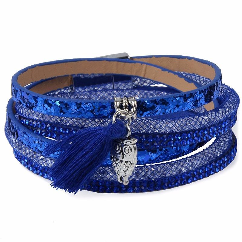 Rhinestone Feather Wide Multilayer Leather Bracelet Magnetic Tassel Bracelet Women Wrap Charm Boho Bohemian Bracelets Bangle Men 3
