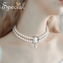 Special European and American multi-layer short chain neck pendant lock Choker against skin color castle lover