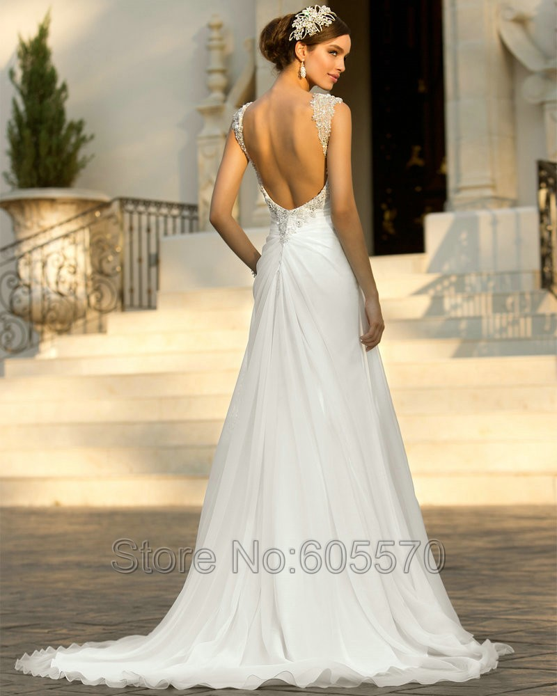 Dress Beach Wedding Cap Sleeves Chiffon Dresses Roman Style Y 2017 New In From Weddings Events On