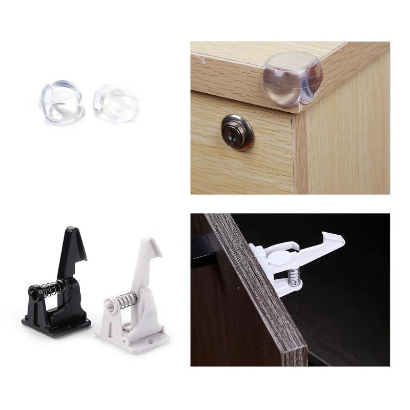 1 Set Children Safety Cabinet Drawer Door Childproof Locks Socket Protection Drawer Blocker Baby Security Invisible Closet Locks