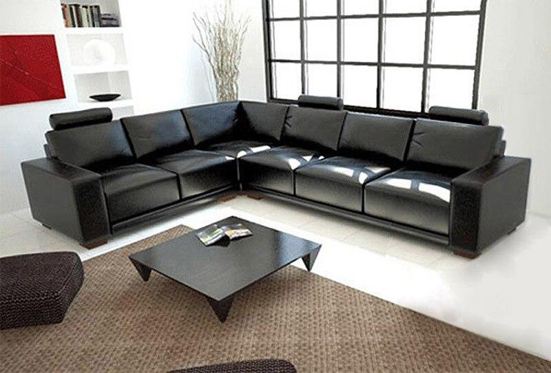 US $1449.0 |Colore nero soggiorno divano in pelle sezionale A1121-in Divani  da soggiorno da Mobili su AliExpress