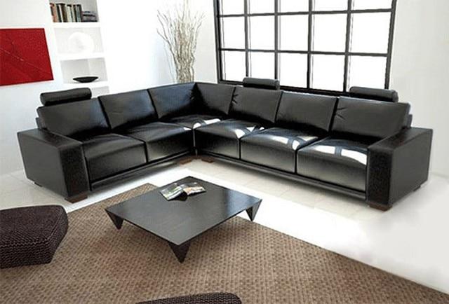 Warna Hitam Ruang Tamu Sectional Sofa Kulit A1121 Di Sofa Ruang Tamu