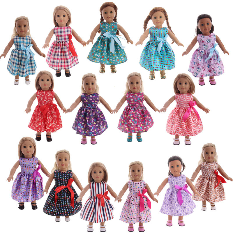 Doll Clothes 15 Styles Dress With Bow Tie Fit 18 Inch American Doll & 43 CM New Born Baby Clothes Accessories Toy For Generation