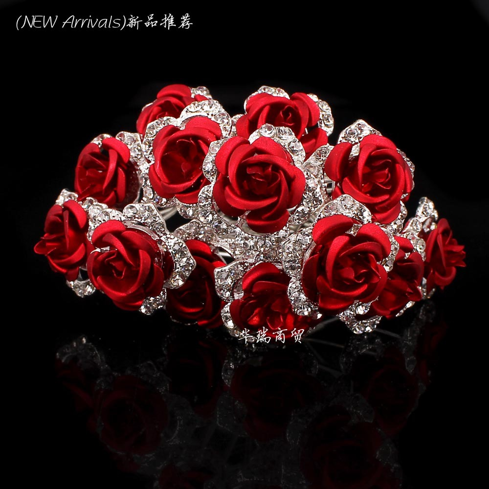 Wholesale 10pcs Red Flower Clear Crystal Rhinestone Women