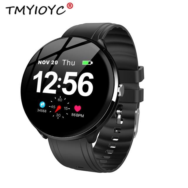 8ed5d7e41ec5 € 23.7 37% de DESCUENTO|TMYIOYC V12 1,3 pantalla táctil reloj inteligente  de las mujeres de los hombres de corazón Monitor de ritmo inteligente de ...
