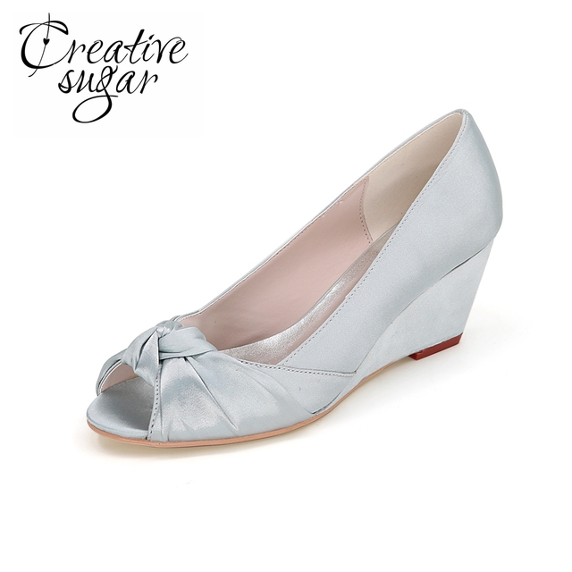 Creativesugar Elegant ladies open toe wedges satin evening dress beach wedding shoes with knot on the toe bridal heels silver