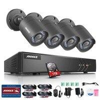 ANNKE 720P 4CH HD TVI Security Camera System 1080N DVR Video Recorder 4 Pcs 1280TVL Weatherproof