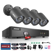 ANNKE 720P 4CH HD TVI Security Camera System 1080N DVR Video Recorder 4 Pcs 1280TVL Weatherproof