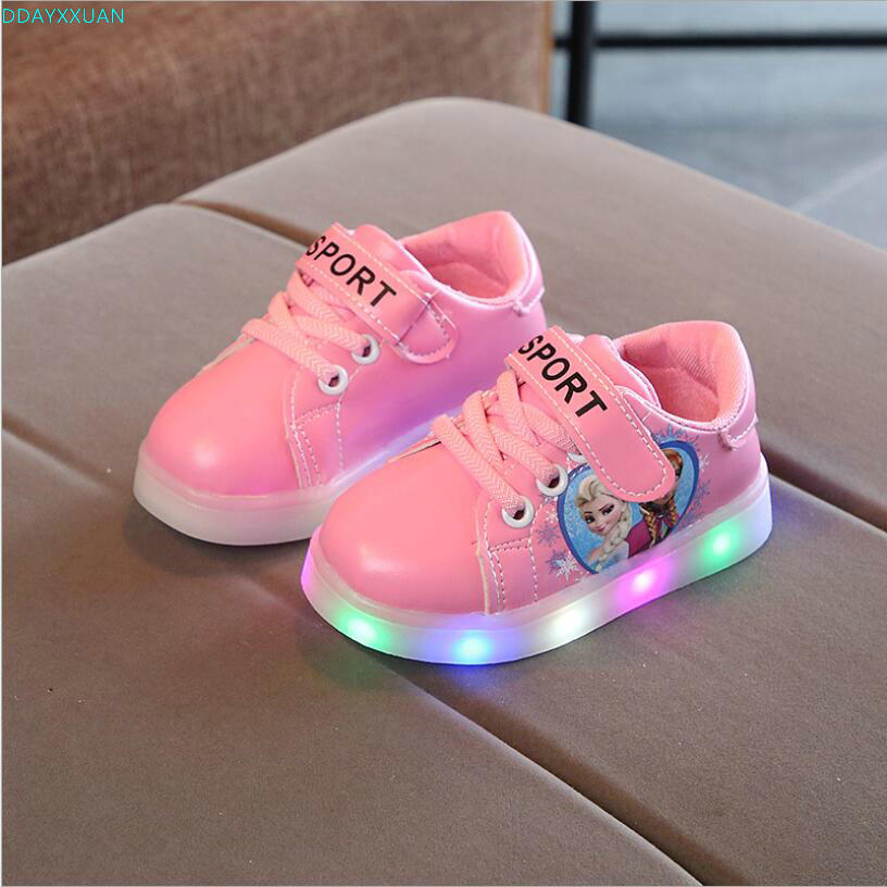 Princess Elsa LED shoes for girls all season sports running baby sneakers solid fashionable excellent kids children shoes elsa shoes сандалии