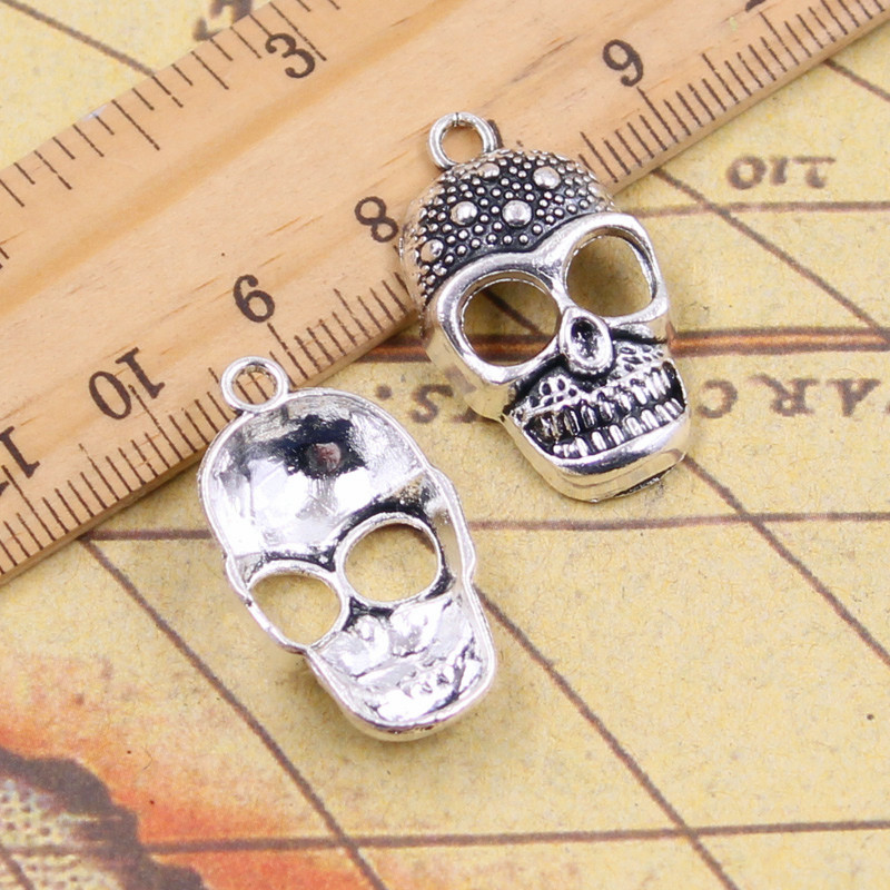 10pcs charms skeleton skull halloween 2926mm tibetan silver plated pendants antique jewelry making diy handmade craft - Religious Halloween Crafts