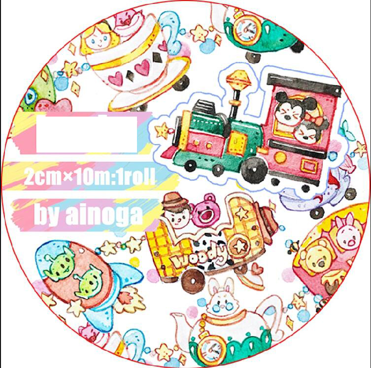 Cute Cartoon Maiden train/Skateboard coffee cup/Rocket Decoration Washi Tape DIY Planner Diary Scrapbooking Masking Tape Escolar 45mm wide cartoon character time boy decoration washi tape diy planner scrapbooking masking tape escolar