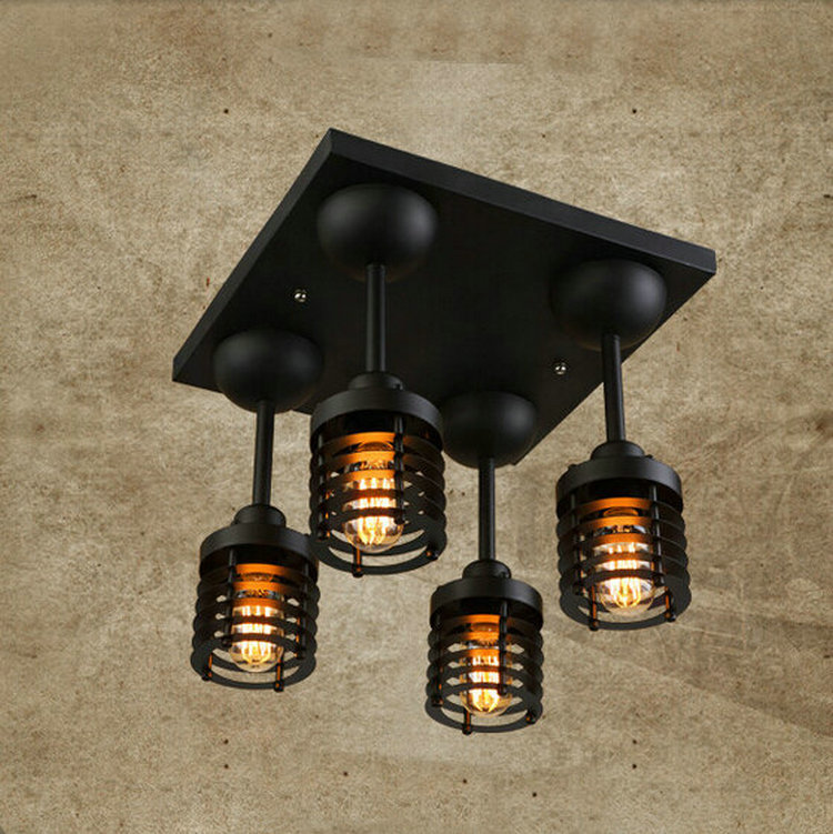 110v,220v Loft Vintage steampunk ceiling lights indoor lighting fixture E27 4bulbs Iron wall