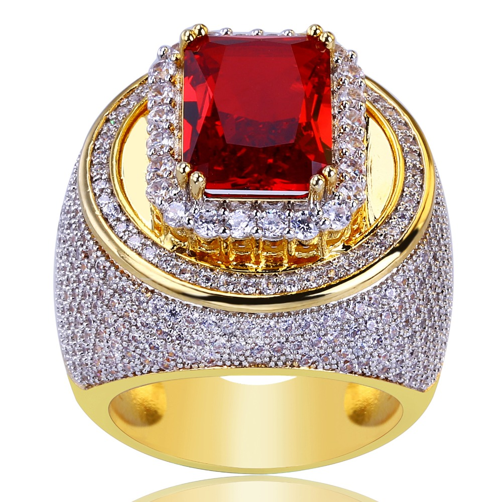 UWIN rouge CZ anneaux classiques soufflé Marine Micro Bling glacé cubique Zircon luxe mode Hiphop bijoux cadeau