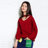 Women Pullover Halter Neck Sweater Loose Sweater Long Wine Red Black Beige Color Batwing Sweater Female 2018 Spring Autumn New