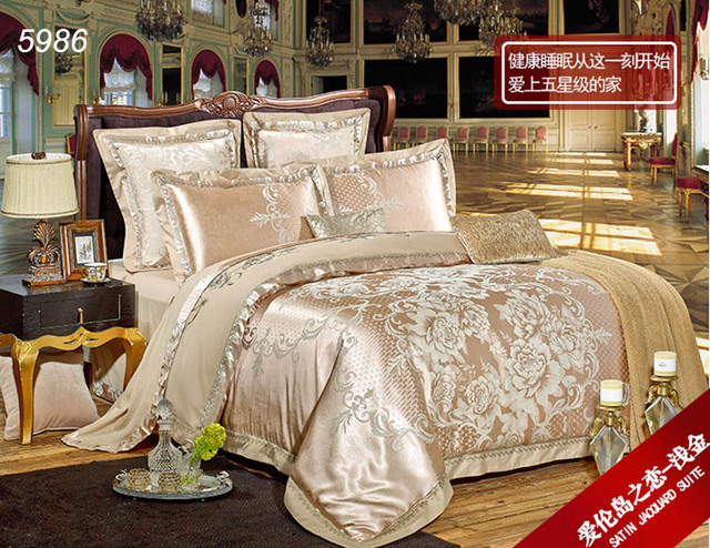 couvre lit or Or Beige soie literie roi queen housse de couette lit couvre  couvre lit or
