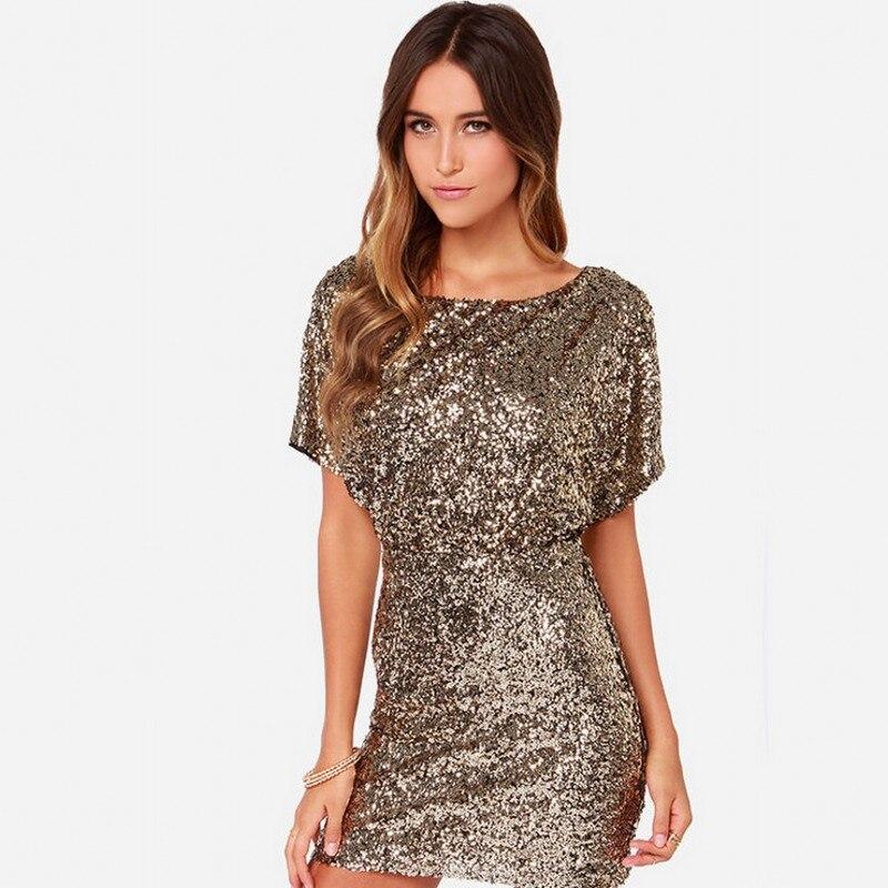 Image 2 - Sexy Sequins Evening Party Dress Shiny Gold Short Club Disco  Dress High Quality Vestido de Fiesta Noche Robe Abendkleid HX  6060Dresses