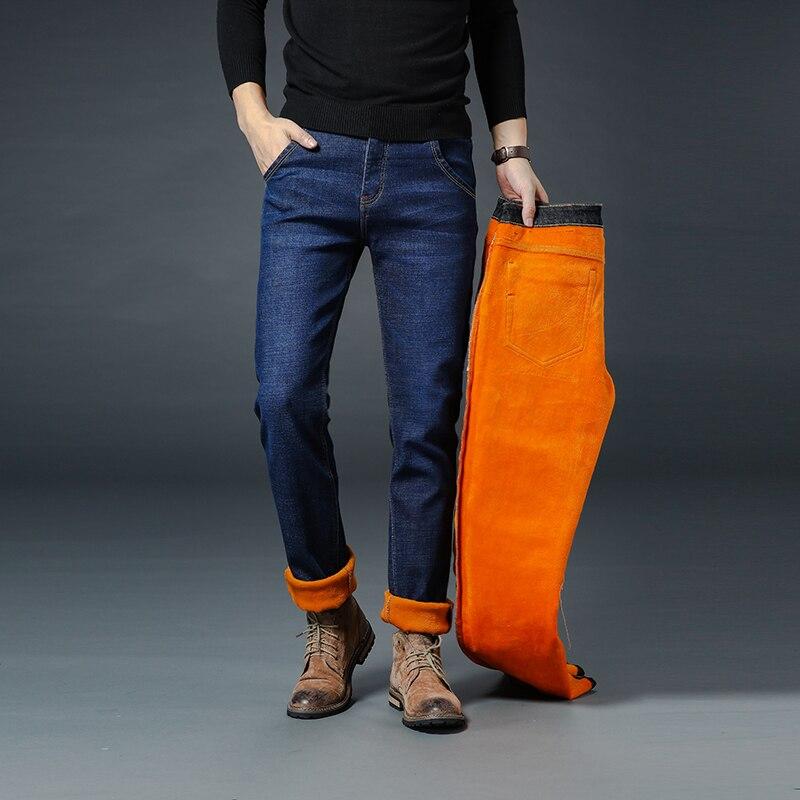 Image 2 - Новые мужские брендовые джинсы, зимние мужские теплые джинсы,  деловые повседневные Прямые Стрейчевые плотные тонкие джинсовые штаны  черного и синего цвета, большие размеры 28 40Джинсы