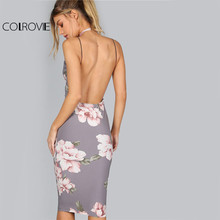 COLROVIE Bodycon Party Dress Women Grey Floral Sexy Backless Slip Summer Dresses Fashion Plunge Neck Elegant Midi Dress
