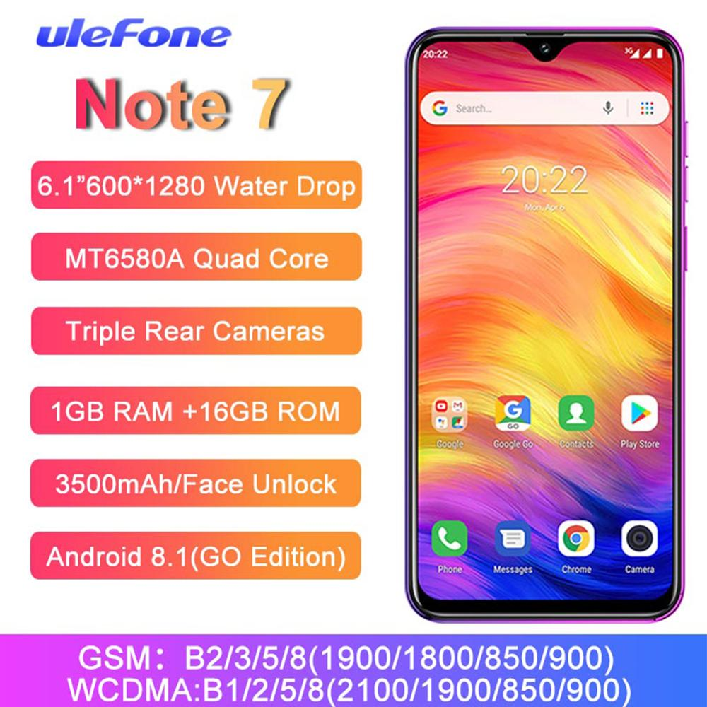 Ulefone Note 7 Smartphone 6.1 Inch MT6580A Quad Core 3500mAh 1GB RAM 16GB ROM Face ID Three Rear Cameras Android GO Mobile Phone