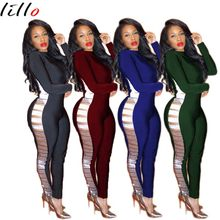 2018 casual stitching jumpsuit spot Bling Queen Nightclub Fashion sexy webbing hollow high quality Comfort and elegance sexy(China)