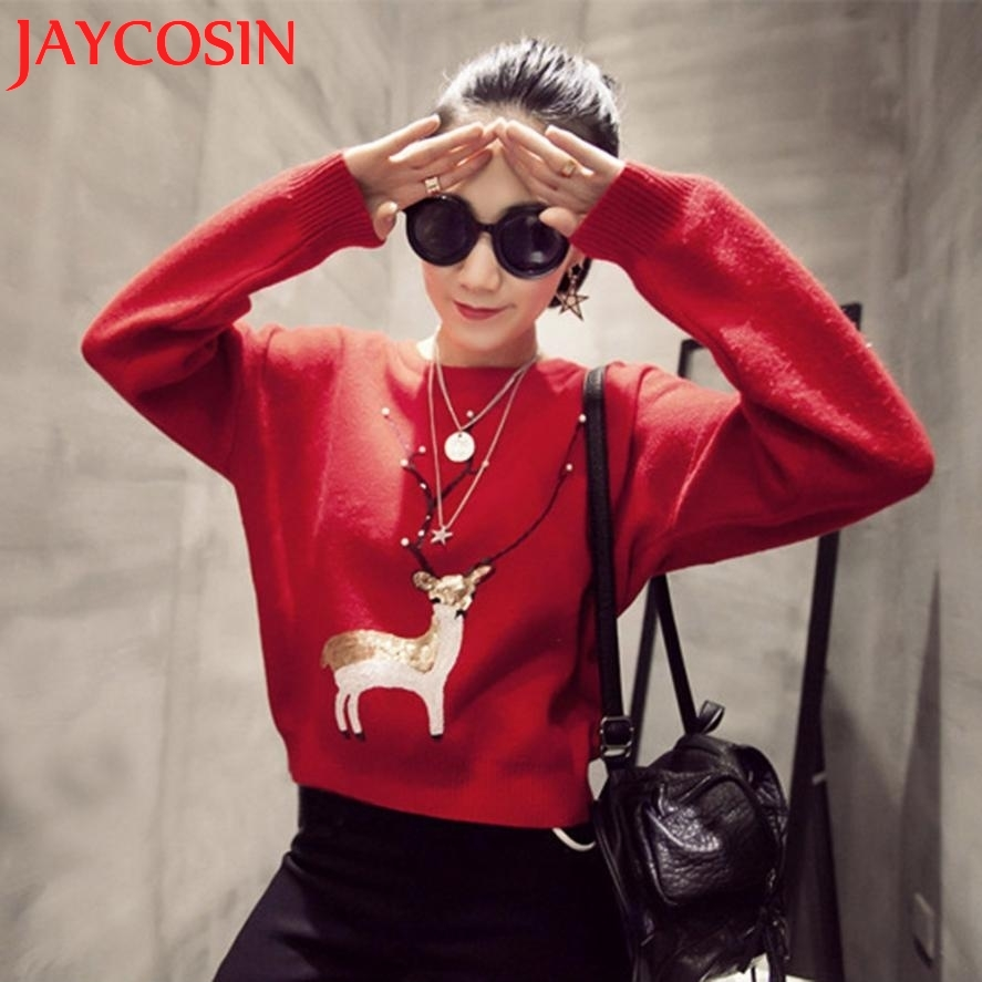 Hot 2017 New Fashion Sweaters Blouse Womens Casual Christmas Deer Pearl Sequins Long Sleeve Jumper Sweaters Blouse Dropship 911
