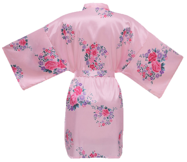 Oversize Pink Chinese Women's Rayon Robe New Sexy Short  Nightwear Satin Kimono Bath Gown Nightgown Flower Sleepwear YZ702