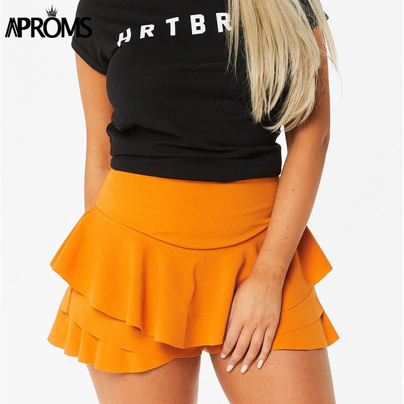 Aproms Yellow Pink Ruffles   Shorts   Skirts for Women 2019 Casual High Waist   Shorts   Ladies High Street Fashion Skort Pantalon Mujer