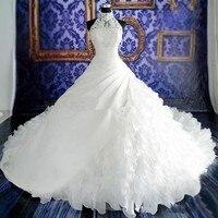 Белое свадебное платье es Кружева бальное платье Свадебные платья с кружевом аппликация бисером без рукавов на молнии Назад органзы 2018 свад
