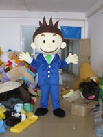 Customed strange short plush little blue boy Fancy Dress Adult Character Cosplay mascot costume free shipping