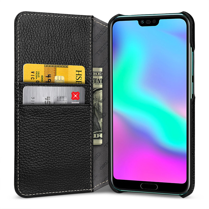 Wallet Case with Card Holder Phone Cover for Huawei Honor 10 Luxury Handmade Design Genuine Leather Bag Shell Business Flip Bags