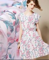 Freeshipping Super beauty Plant Flower Fairy Inkjet Silk Joe Fabrics, print satin floral cotton fabric dress katoen stof B535