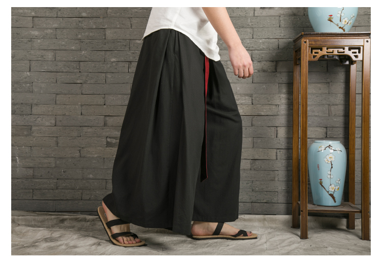 Sinicism Store 2020 Japanese Wide Leg Pants Men Streetwear Casual Cotton Linen Man Sweatpants Summer Chinese Style Male Joggers 41