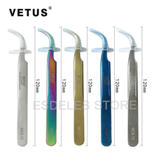 100% Genunie VETUS MCS-15 Rainbow Tweezers False Eyelash Extension Tweezer Stainless Steel Curved Makeup Nail Art DIY Colorful