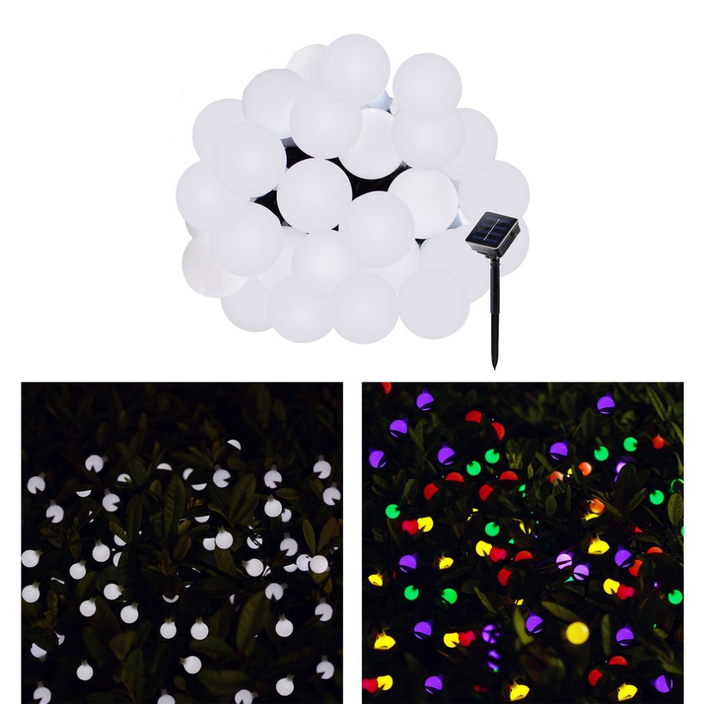 20 LED Ball Solar String Lights Outdoor Waterproof Christmas Starry Fairy Lighting Strings for Garden Home Party White/Colorful