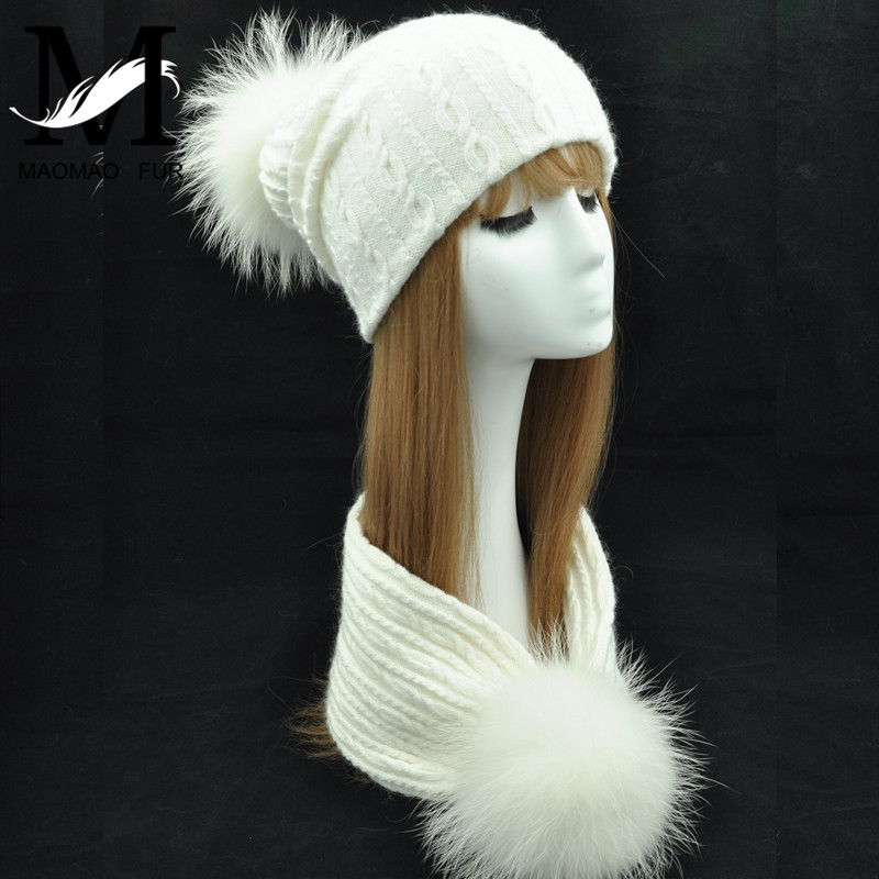 Women Knitted Hat Scarf Set Winter Beanies Real Big Fur Pom Pom Hat Ladies Genuine Fur Ball Scarves