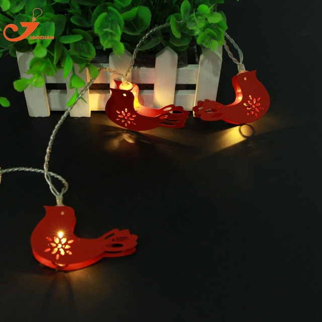 red metal bird string lights fairy animal led christmas light home garden lights santa battery powered