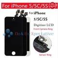 Para iphone 5s 5c 5 lcd screen display toque digitador assembléia LCD Toque de Espuma de Espuma Do Sensor Anel Câmera Frontal Quadro Nenhum Morto Pixel