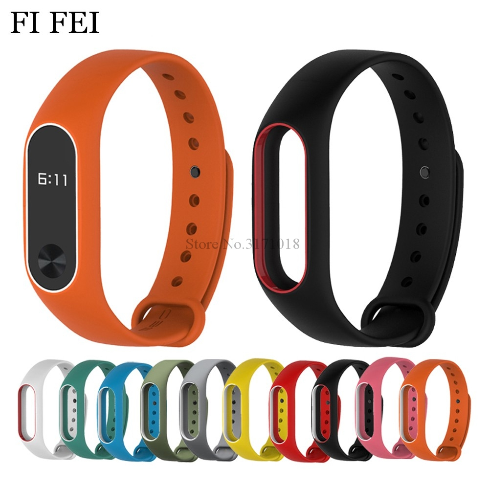 где купить FI FEI Colorful Silicone Wrist Strap Bracelet Double Color Replacement Watchband For Miband 2 Xiaomi Mi band 2 Wristbands по лучшей цене