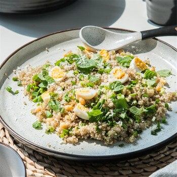 Plato de estilo japonés NIMITIME, plato de estilo occidental de cerámica, plato de ensalada de frutas, plato plano redondo para Cena